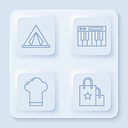 Set line Tourist tent, Music synthesizer, Chef hat and Paper shopping bag. White square button. Vector