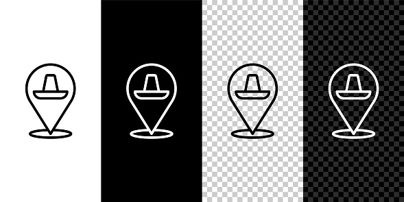 Set line Traditional mexican sombrero hat icon isolated on black and white, transparent background. Vector