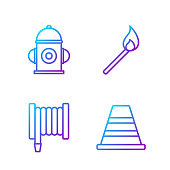 Set line Traffic cone, Fire hose reel, Fire hydrant and Burning match with fire. Gradient color icons. Vector