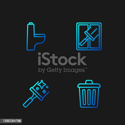istock Set line Trash can, Rubber cleaner for windows, Toilet bowl and . Gradient color icons. Vector 1330264786