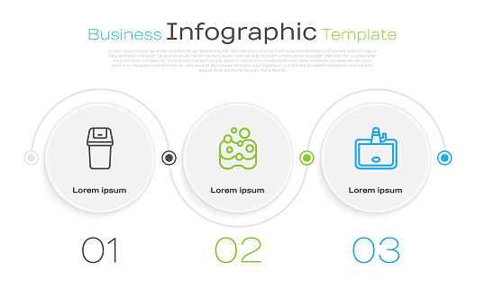 Set line Trash can, Sponge and Washbasin. Business infographic template. Vector