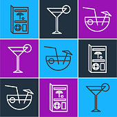 Set line Travel brochure, Coconut cocktail and Martini glass icon. Vector