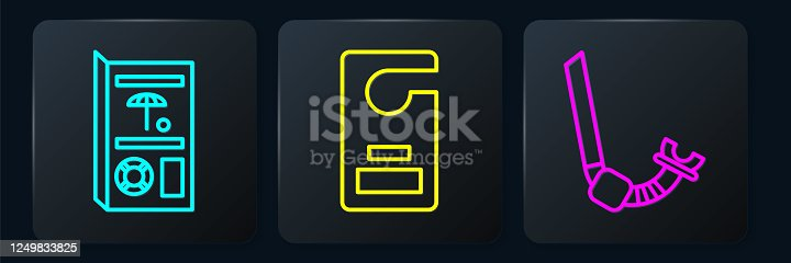 istock Set line Travel brochure, Snorkel and Please do not disturb. Black square button. Vector 1249833825