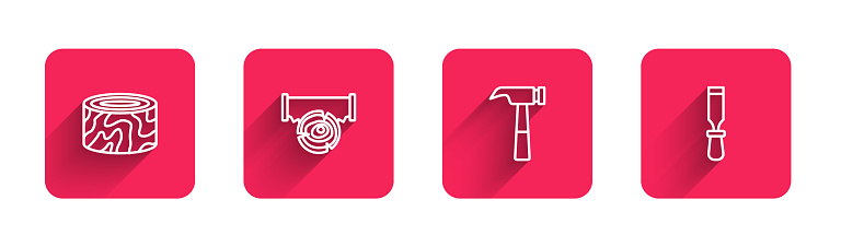 Set line Tree stump, Two-handed saw and log, Hammer and Chisel tool with long shadow. Red square button. Vector
