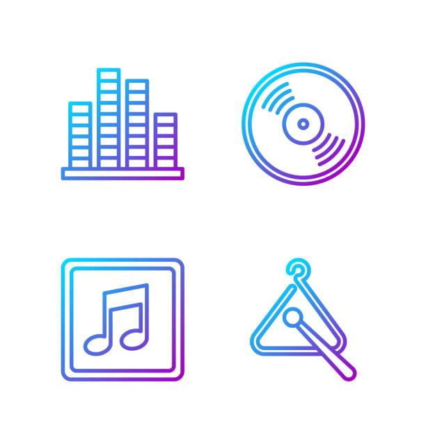 bildbanksillustrationer, clip art samt tecknat material och ikoner med set line triangle musikinstrument, musik anmärkning, ton, musik eq - triangel slagverksinstrument