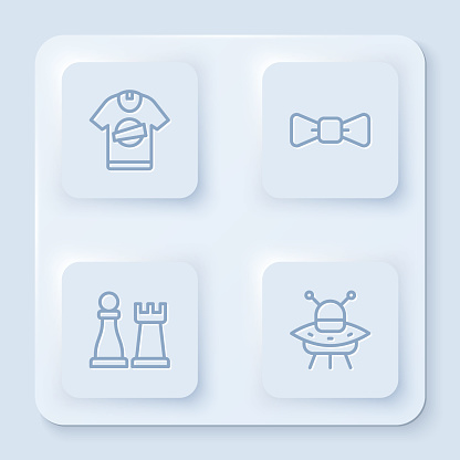 Set line T-shirt, Bow tie, Chess and UFO flying spaceship. White square button. Vector