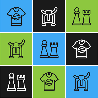 Set line T-shirt, Chess and Viking in horned helmet icon. Vector