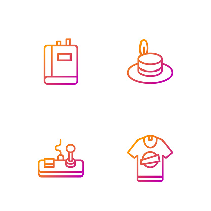 Set line T-shirt, Gamepad, Book and Man hat. Gradient color icons. Vector