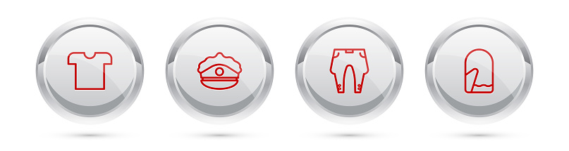 Set line T-shirt, Police cap with cockade, Pants and Christmas mitten. Silver circle button. Vector