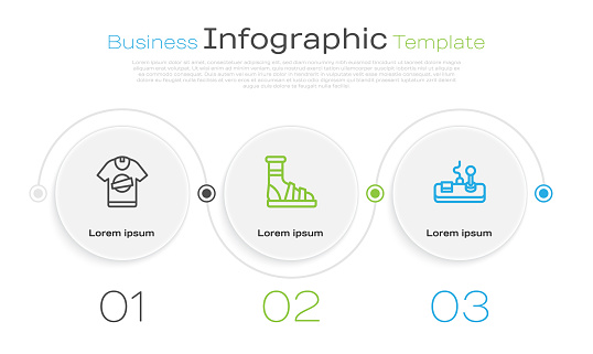 Set line T-shirt, Slippers with socks and Gamepad. Business infographic template. Vector