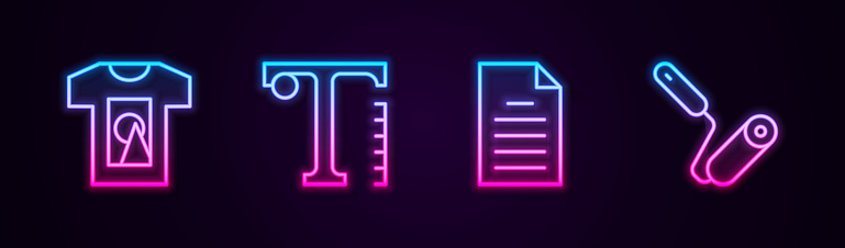 Set line T-shirt, Text, File document and Paint roller brush. Glowing neon icon. Vector