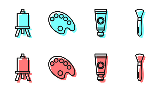Set line Tube with paint palette, Easel or painting art boards, Palette and Paint brush icon. Vector