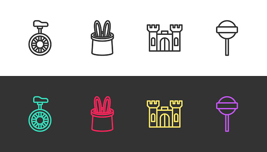 Set line Unicycle or one wheel bicycle, Magician hat and rabbit ears, Castle and Lollipop on black and white. Vector