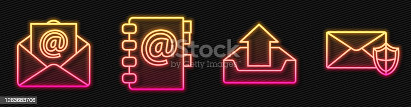 Set line Upload inbox, Mail and e-mail, Address book and Envelope with shield. Glowing neon icon. Vector