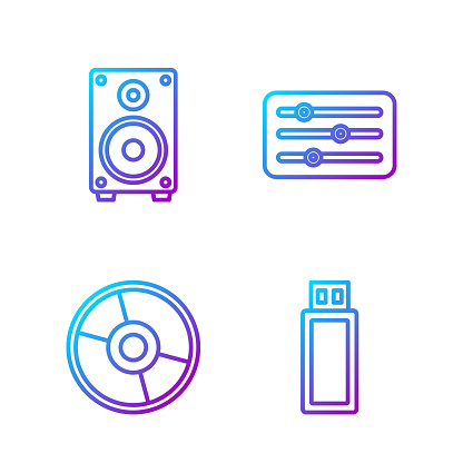 Set line USB flash drive, CD or DVD disk, Stereo speaker and Sou