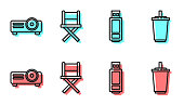 istock Set line USB flash drive, Movie, film, media projector, Director movie chair and Paper glass with water icon. Vector 1263687123