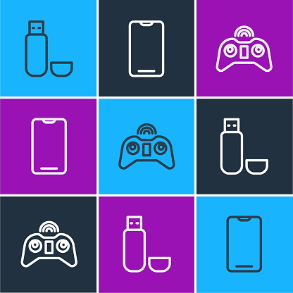Set line USB flash drive, Wireless gamepad and Smartphone, mobile phone icon. Vector