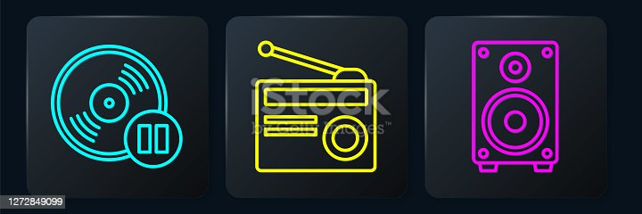 Set line Vinyl disk, Stereo speaker and Radio with antenna. Black square button. Vector