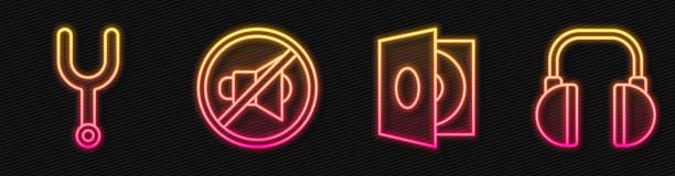 Set line Vinyl player with a vinyl disk, Musical tuning fork, Speaker mute and Headphones. Glowing neon icon. Vector Set line Vinyl player with a vinyl disk, Musical tuning fork, Speaker mute and Headphones. Glowing neon icon. Vector switchboard operator vintage stock illustrations