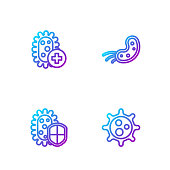 Set line Virus, Shield protecting from virus, Positive and . Gradient color icons. Vector.