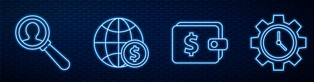 Set line Wallet with dollar, Magnifying glass for search a people, Earth globe with dollar and Time Management. Glowing neon icon on brick wall. Vector Set line Wallet with dollar, Magnifying glass for search a people, Earth globe with dollar and Time Management. Glowing neon icon on brick wall. Vector business clipart stock illustrations
