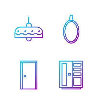 Set line Wardrobe, Closed door, Chandelier and Mirror. Gradient color icons. Vector