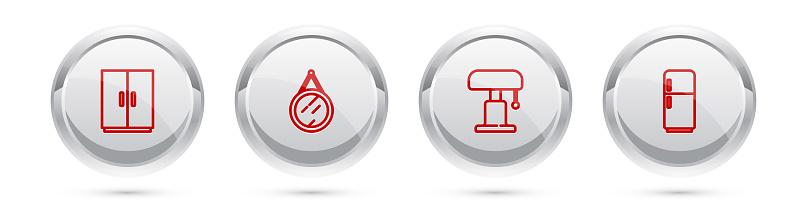Set line Wardrobe, Mirror, Table lamp and Refrigerator. Silver circle button. Vector
