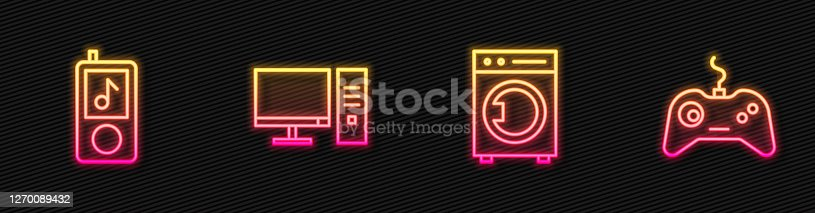 istock Set line Washer, Music player, Computer monitor and Gamepad. Glowing neon icon. Vector 1270089432