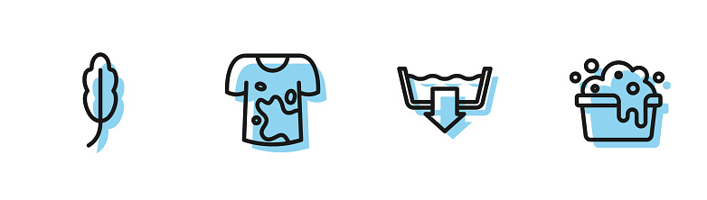 Set line Washing modes, Feather, Dirty t-shirt and Basin with soap suds icon. Vector