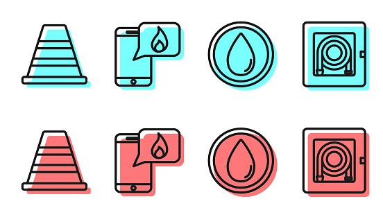 Set line Water drop, Traffic cone, Phone with emergency call 911 and Fire hose cabinet icon. Vector