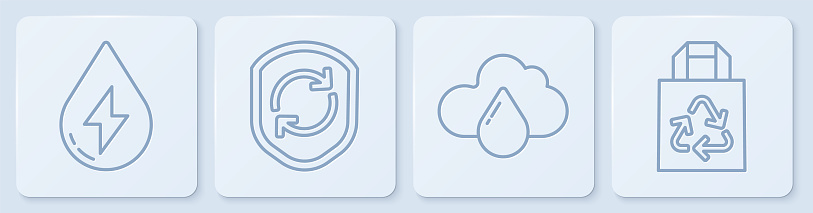Set line Water energy, Cloud with rain, Recycle symbol inside shield and Paper bag with recycle. White square button. Vector