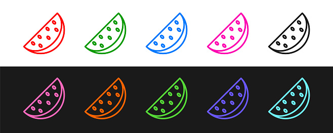 Set line Watermelon icon isolated on black and white background. Vector