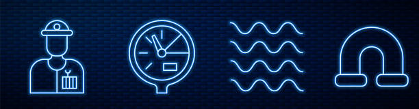 Set line Wave, Plumber, Water meter and Industry metallic pipe. Glowing neon icon on brick wall. Vector Set line Wave, Plumber, Water meter and Industry metallic pipe. Glowing neon icon on brick wall. Vector blue clipart stock illustrations