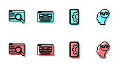 Set line Web development, UI or UX design, and Front end icon. Vector.