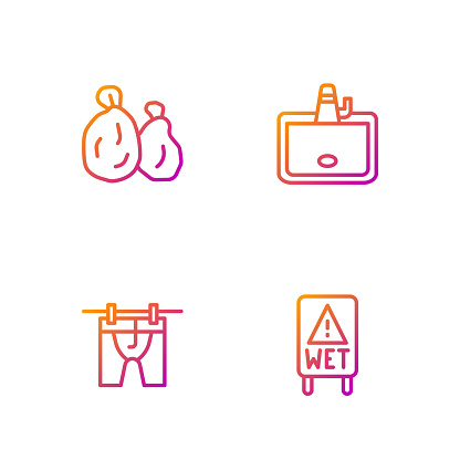 Set line Wet floor, Drying clothes, Garbage bag and Washbasin. Gradient color icons. Vector