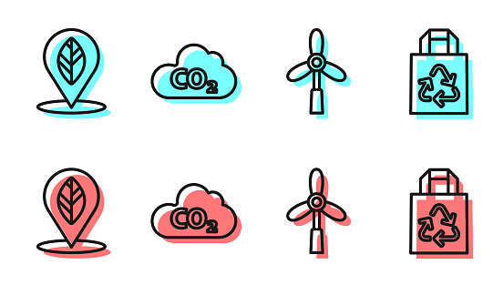 Set line Wind turbine, Location with leaf, CO2 emissions in cloud and Paper bag with recycle icon. Vector