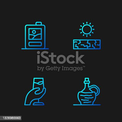 istock Set line Wine in italian fiasco bottle, tasting, degustation, Cardboard box of wine and Drought. Gradient color icons. Vector 1326985563