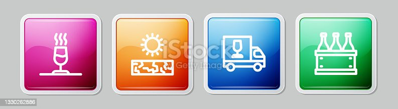 istock Set line Wine tasting, degustation, Drought, truck and Bottles of wine box. Colorful square button. Vector 1330262886