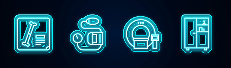 Set line X-ray shots, Blood pressure, Tomography and Medicine cabinet. Glowing neon icon. Vector