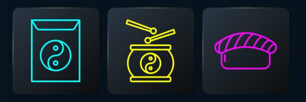 ilustraciones, imágenes clip art, dibujos animados e iconos de stock de establezca la línea yin yang y sobre, sushi y tambor chino. botón cuadrado negro. vector - yin yang symbol
