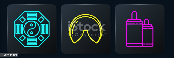 Set line Yin Yang, Firework and Chinese fortune cookie. Black square button. Vector