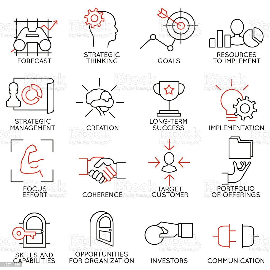 Set linear icons of business management, strategy - part 2 vector art illustration