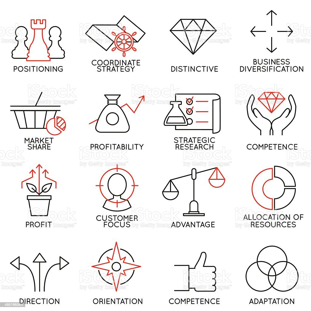 Set linear icons of business management, strategy - part 3 vector art illustration
