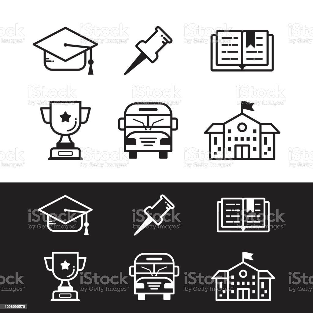 Set Linear School Vector Pictogram For Website Icon Stock
