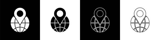 ilustrações de stock, clip art, desenhos animados e ícones de set location on the globe icon isolated on black and white background. world or earth sign. vector illustration - europe points