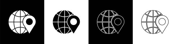 ilustrações de stock, clip art, desenhos animados e ícones de set location on the globe icon isolated on black and white background. world or earth sign. vector illustration - europe points