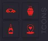 Set Location with heart, Limousine car, Wedding cake and Champagne bottle icon. Vector.