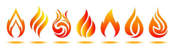bildbanksillustrationer, clip art samt tecknat material och ikoner med ställ in logotyp brand. vektorillustration för design - för lager - flames