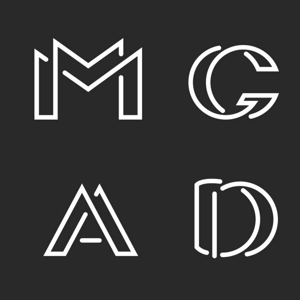 set logo m, d, a, g letters monograms logos, group creative linear marks, overlapping black and white thin lines business or wedding card emblems - alphabet symbols stock illustrations