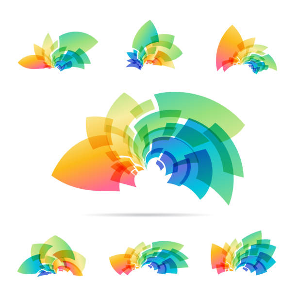 set logotype, colorful abstraction sign - part of a series stock illustrations, clip art, cartoons, & icons